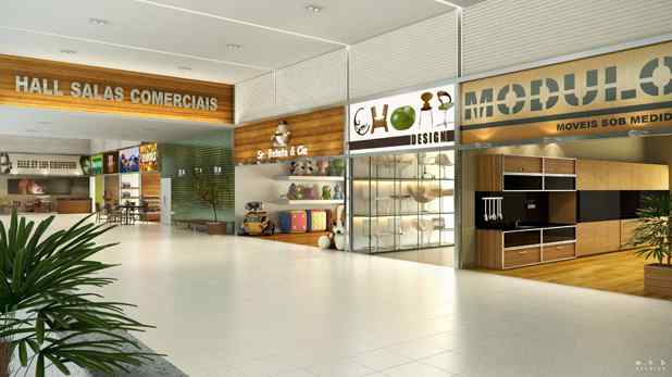 Imagem ilustrativa da galeria das lojas e hall de entrada das salas